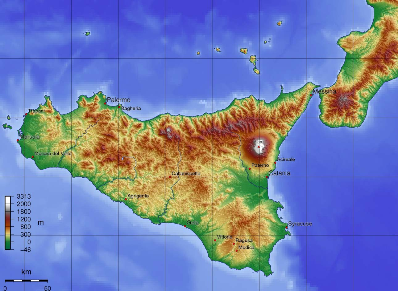 Topographic Map of Sicily large map