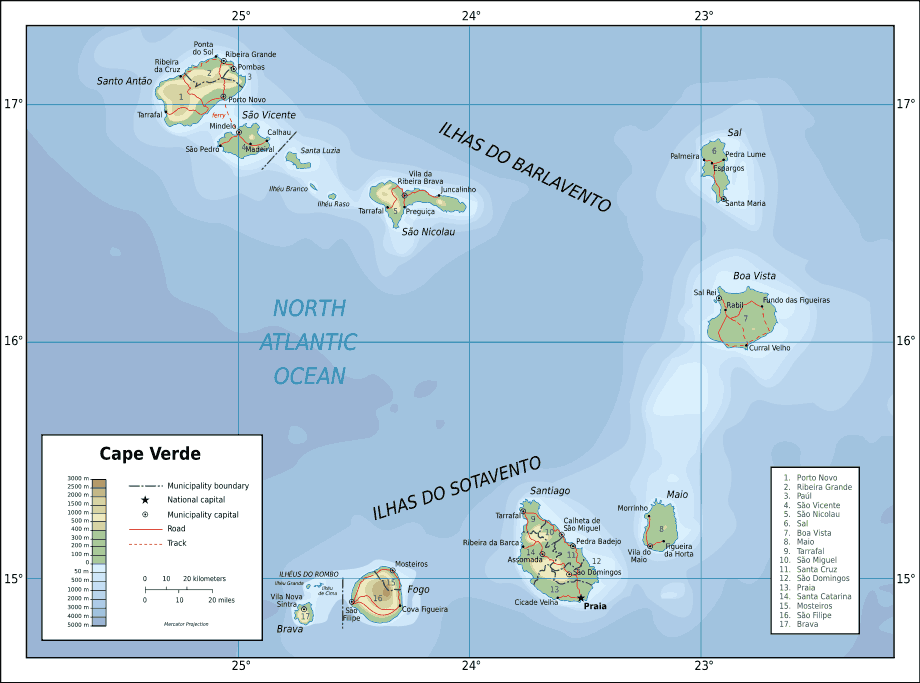 Topographic Map of Cape Verde En large map