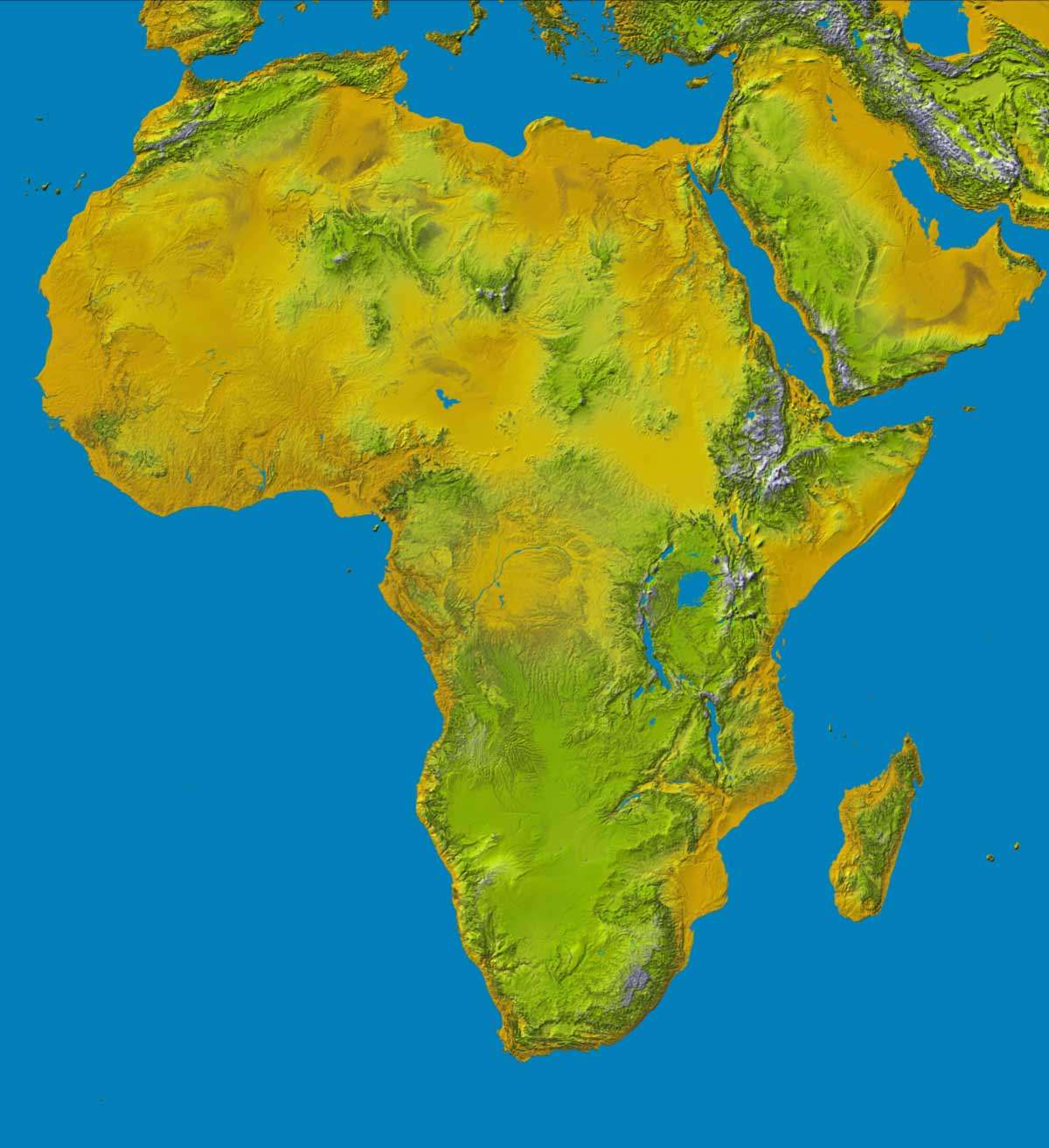 Topography of Africa large map