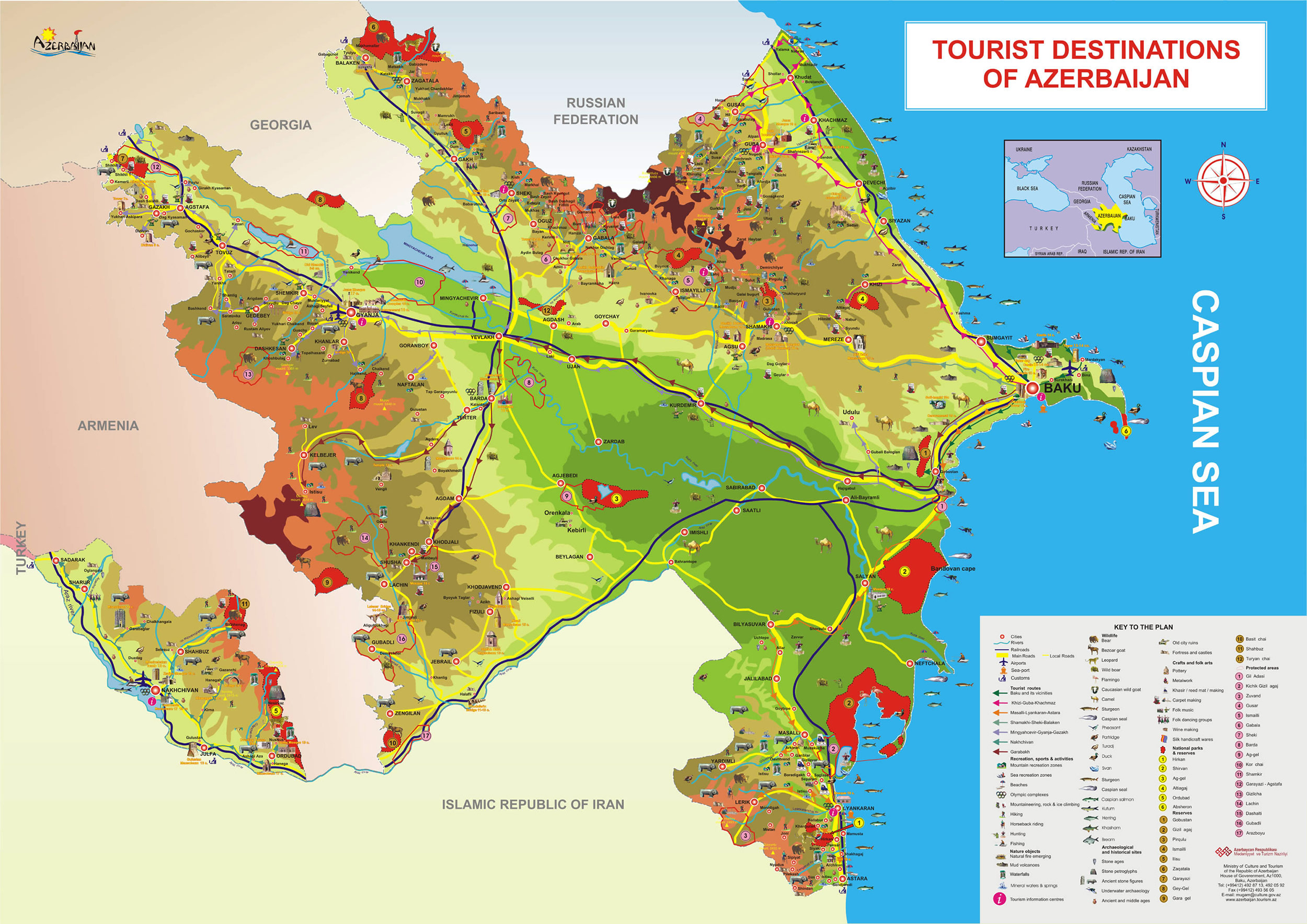 Tourist Destinations Of Azerbaijan large map