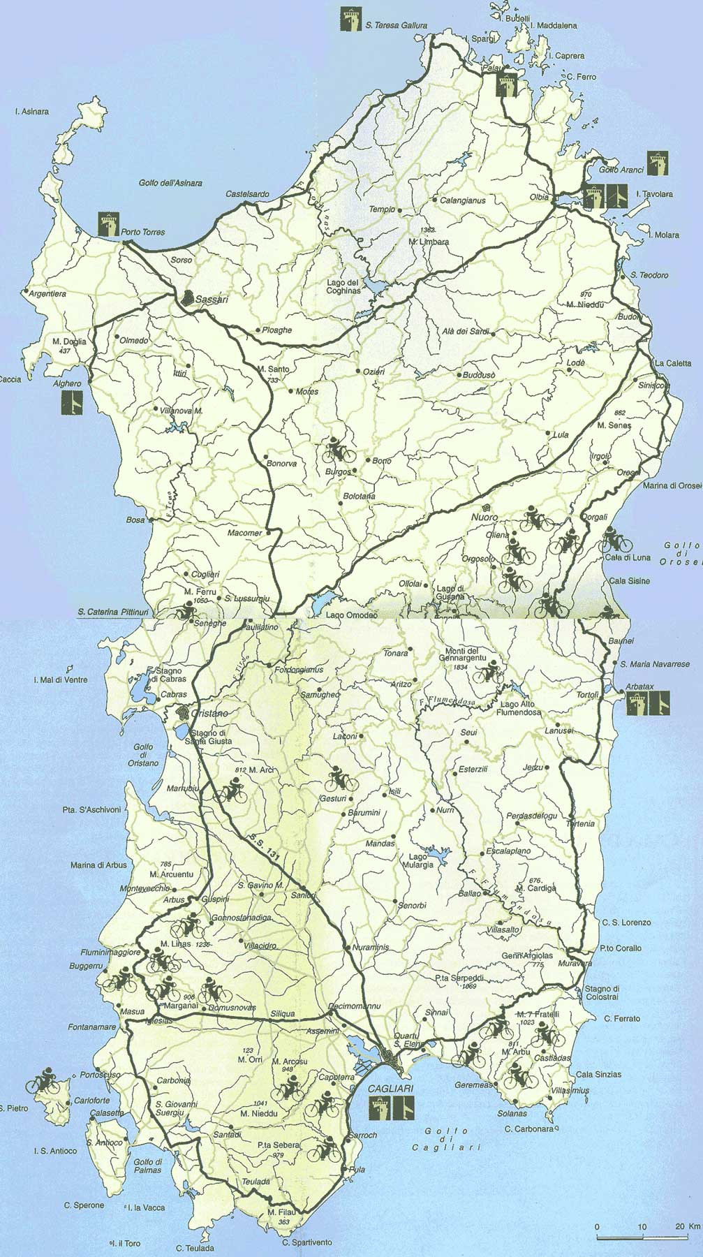 Tourist Map Sardinia Mapsofnet
