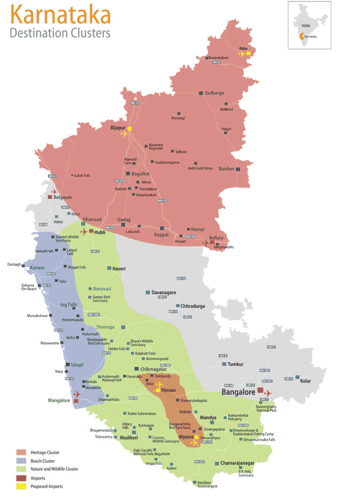 Tourist Map of Karnataka large map