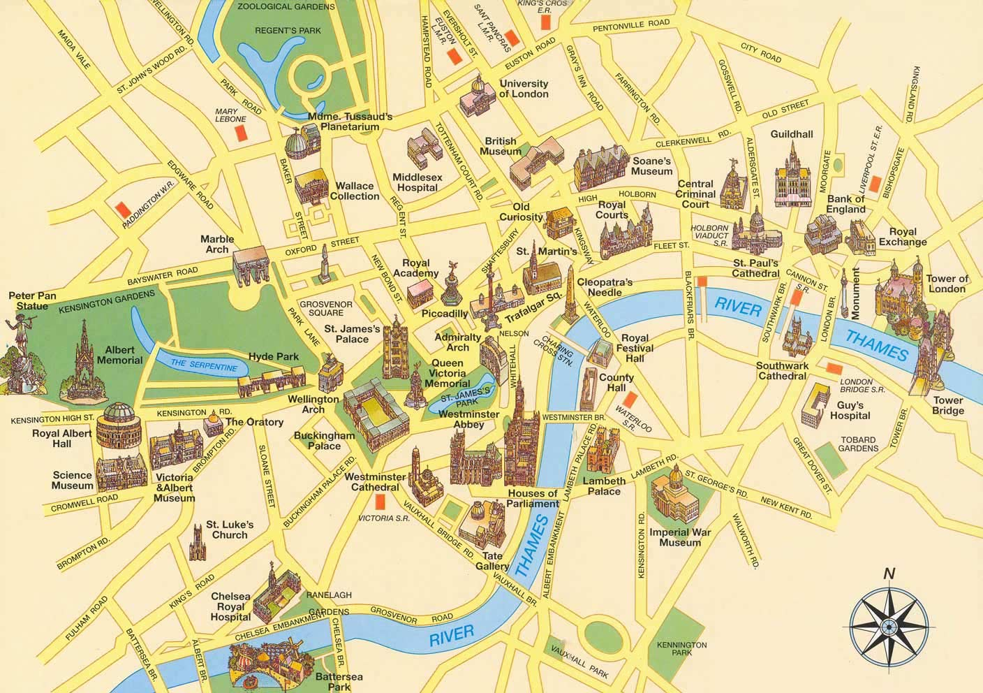 Tourist Map of London large map