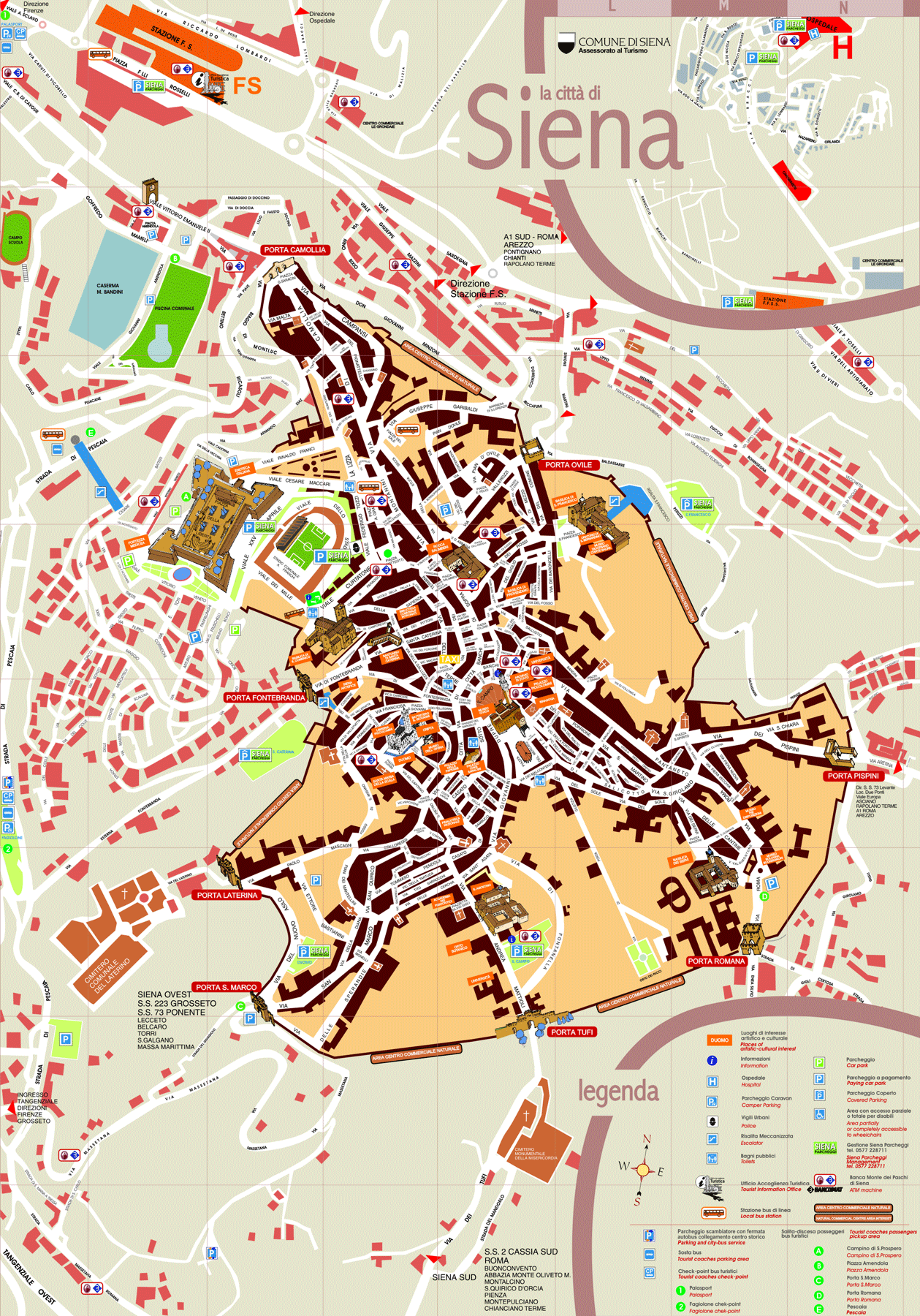 Tourist Map of Siena large map