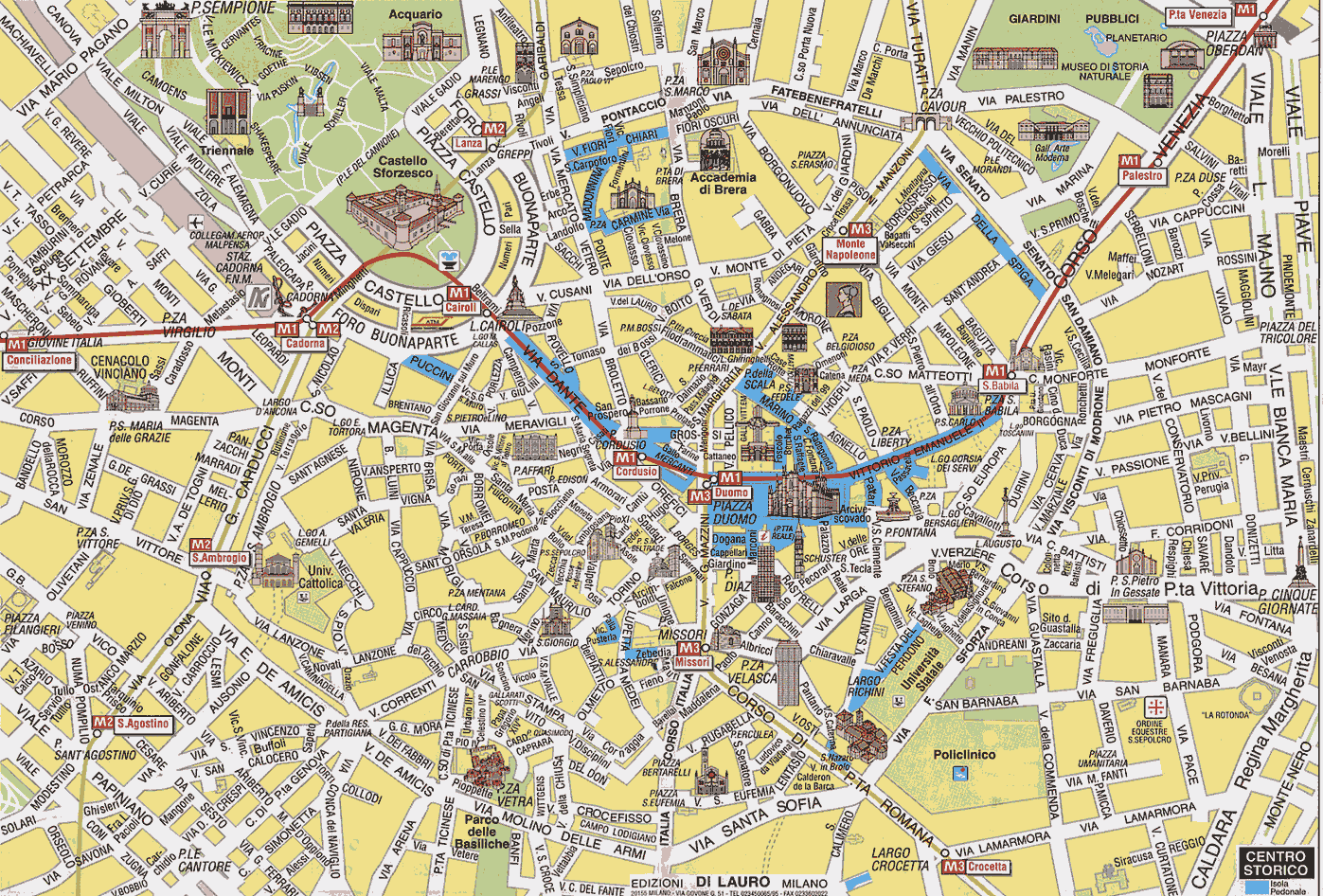 Tourist Travel Map Milan Mapsofnet