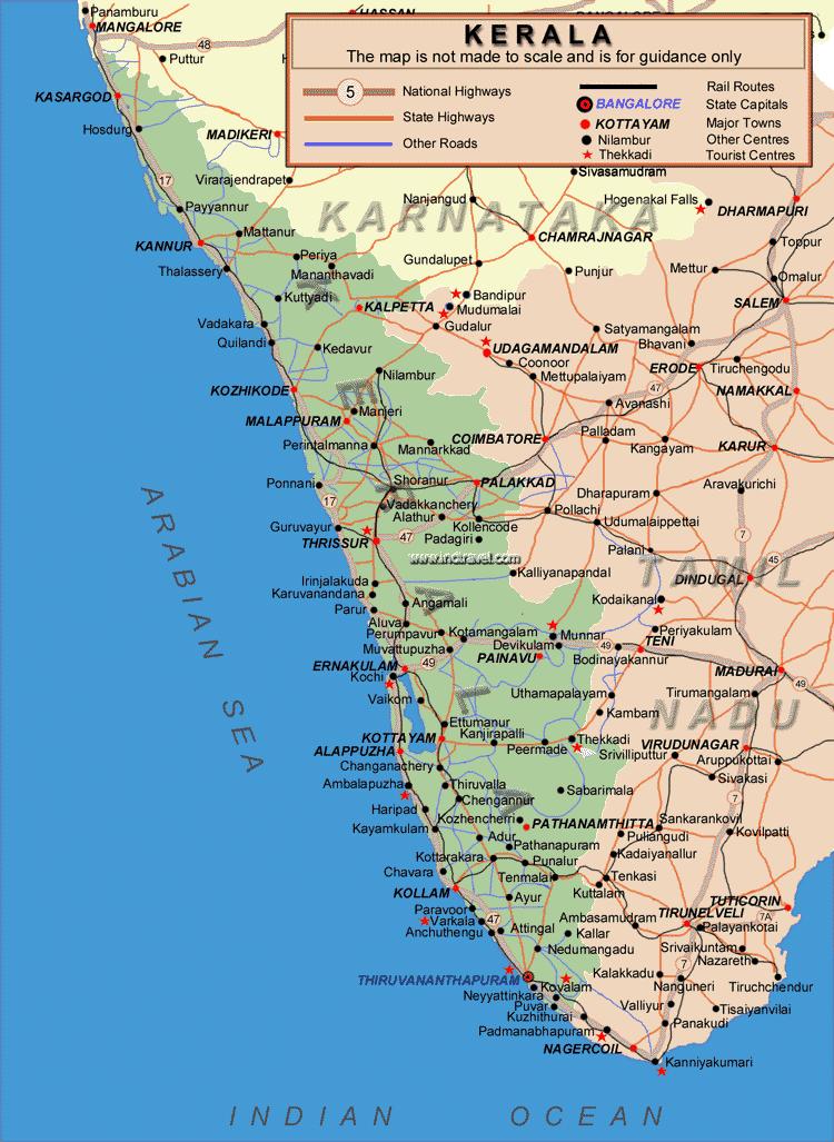 Transport Map of Kerala large map