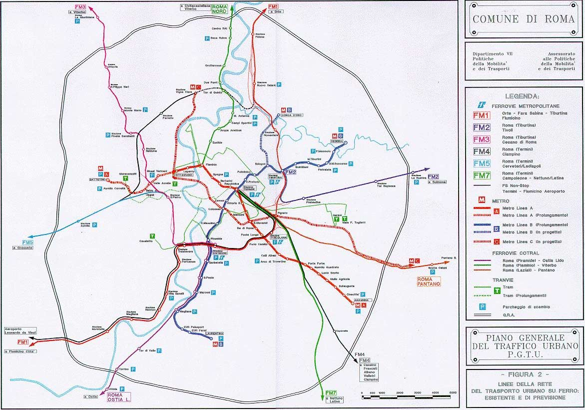 Transport Subway Map Rome large map