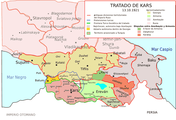 Tratado De Kars 1921  Territorios Disputados large map