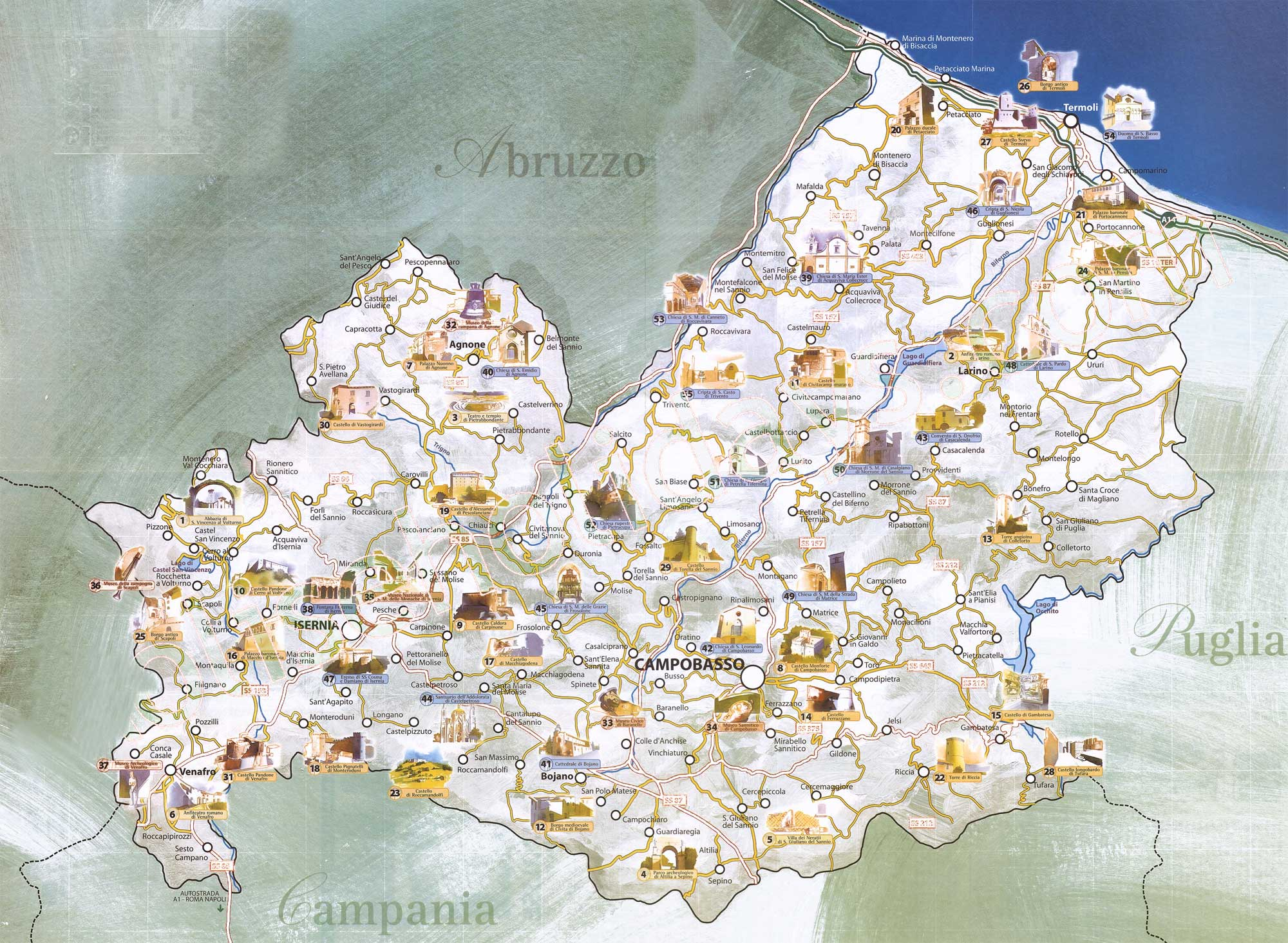 Travel And Tourist Map Molise Mapsofnet