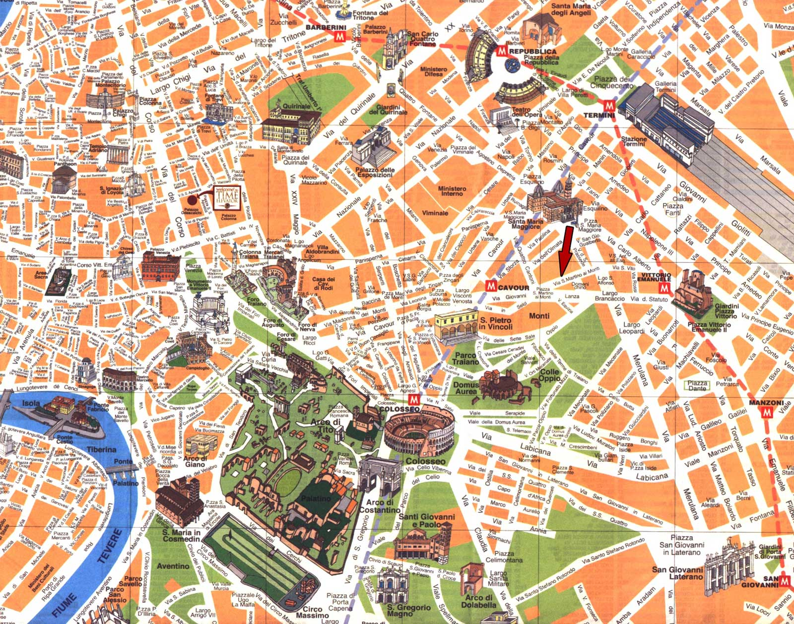 Travel Map Rome large map