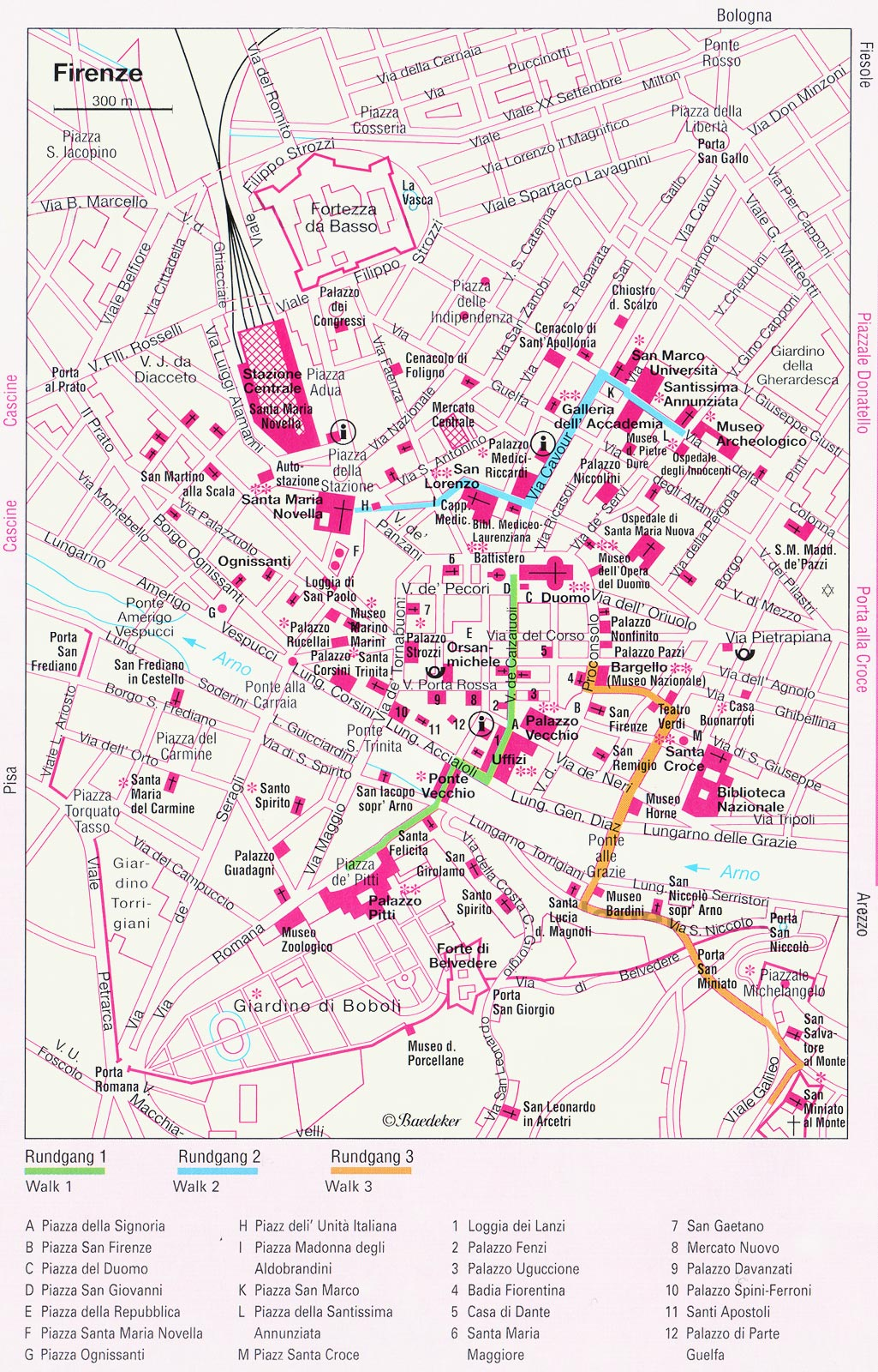 Travel Map of Florance (firenze) large map
