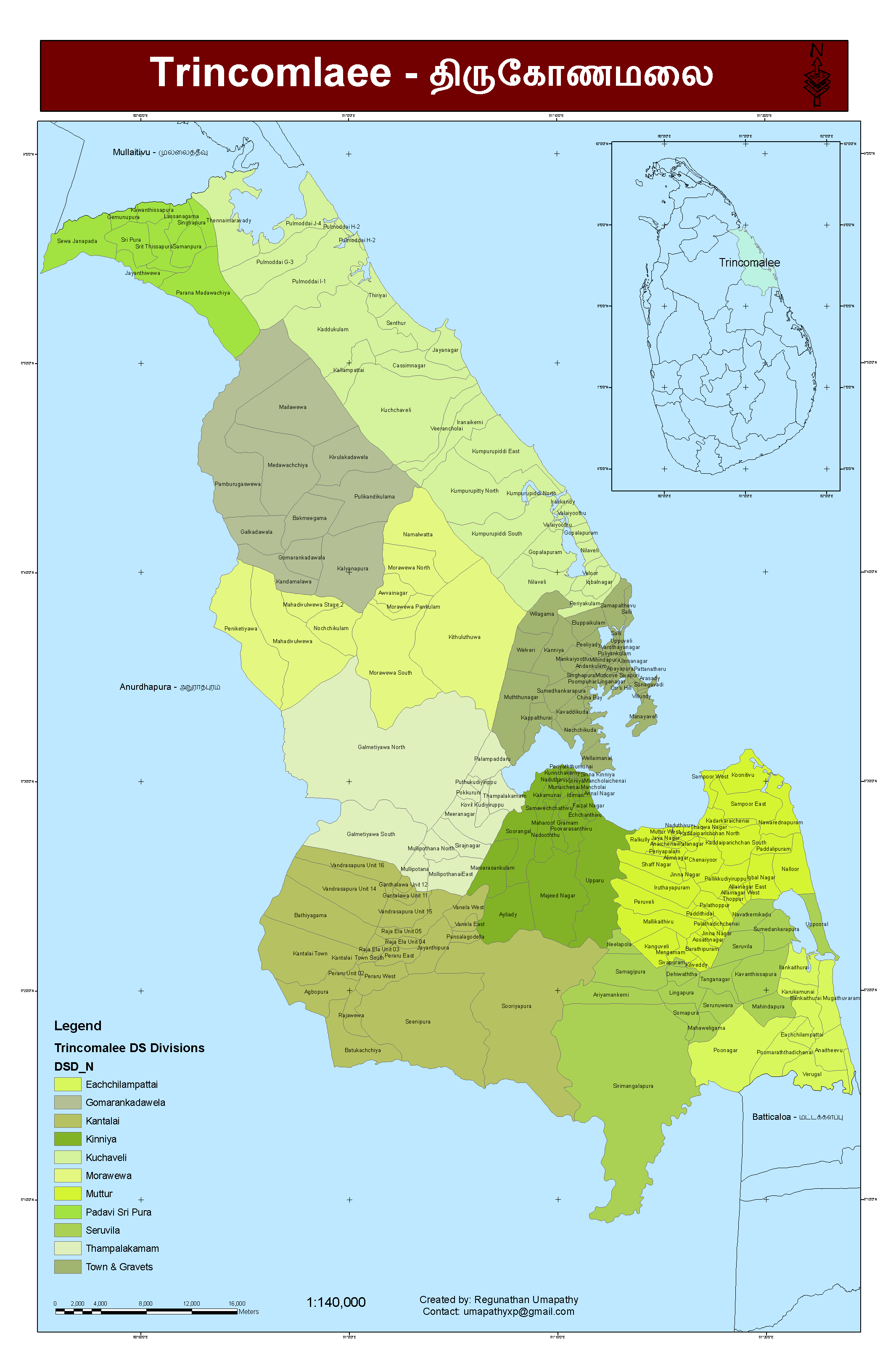 Trincomalee District A3 large map