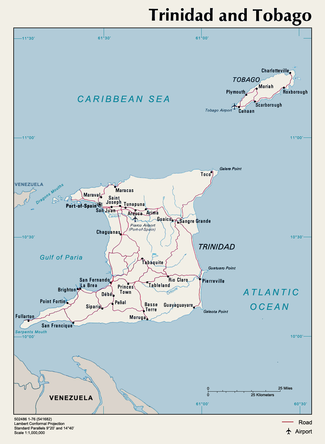 Trinidad Tobago Political Map