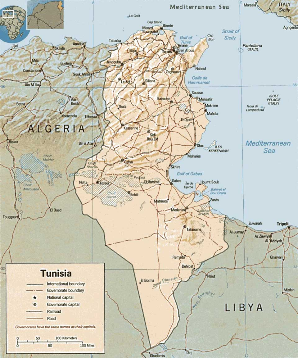 Tunisia Map large map