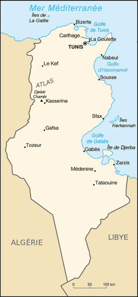 Tunisie Carte large map