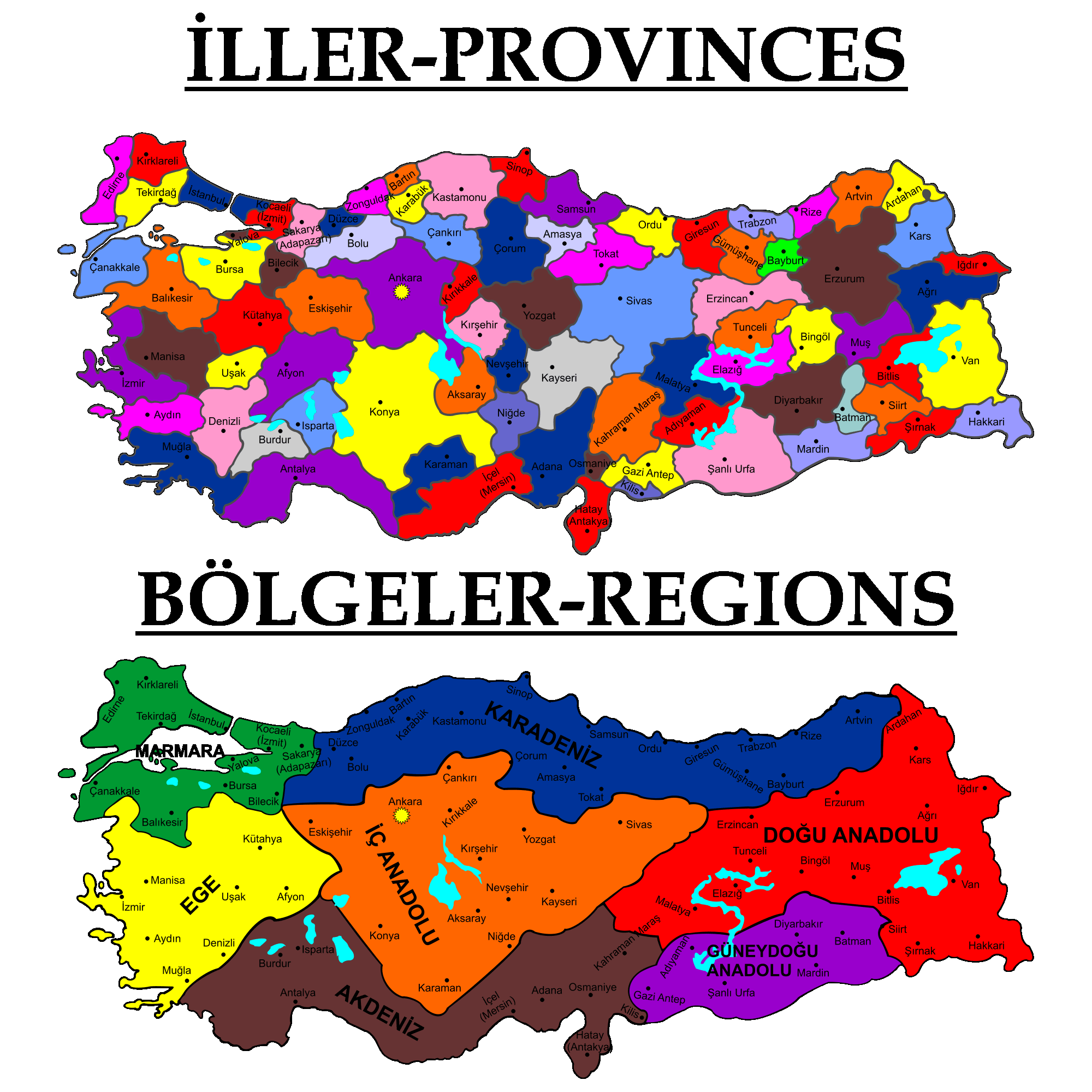 Turkey Political Map large map