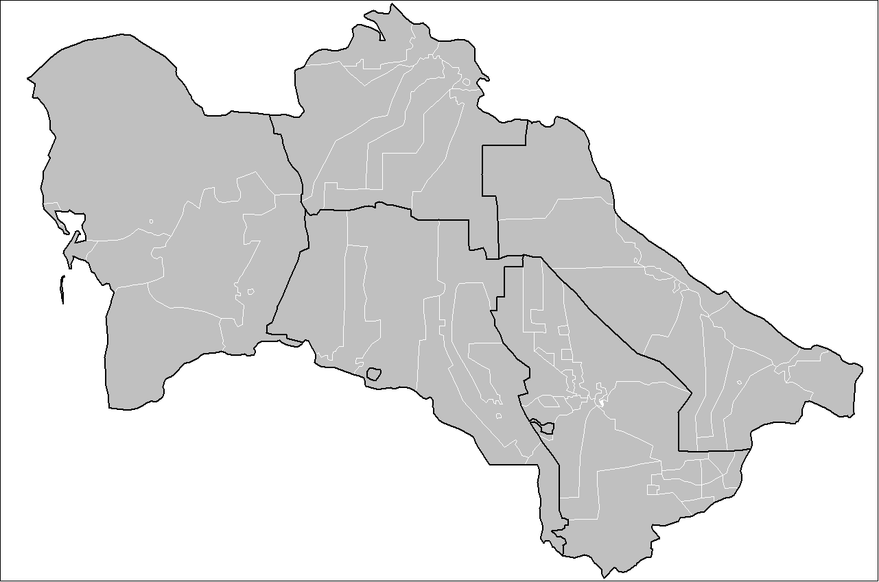 Turkmenistan Districts large map