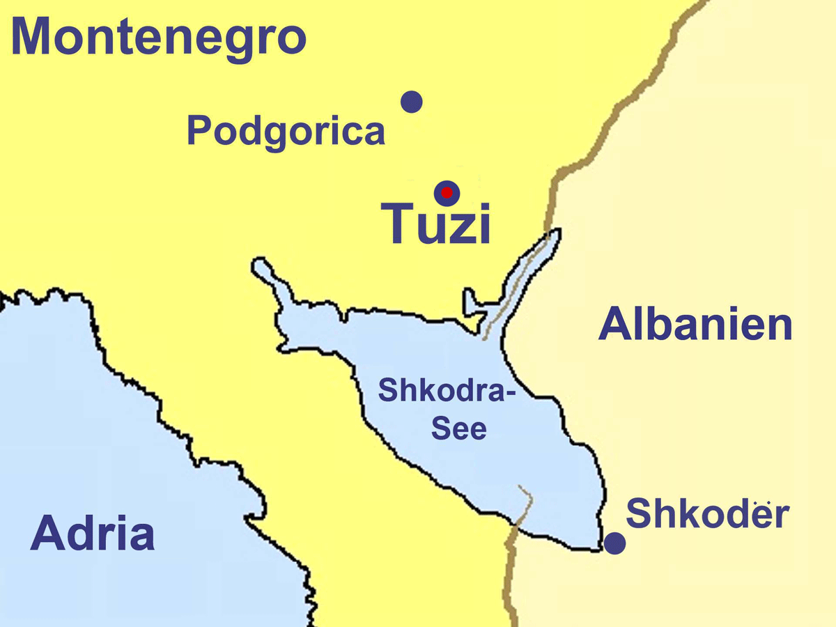Tuzi Montenegro Deutsch large map