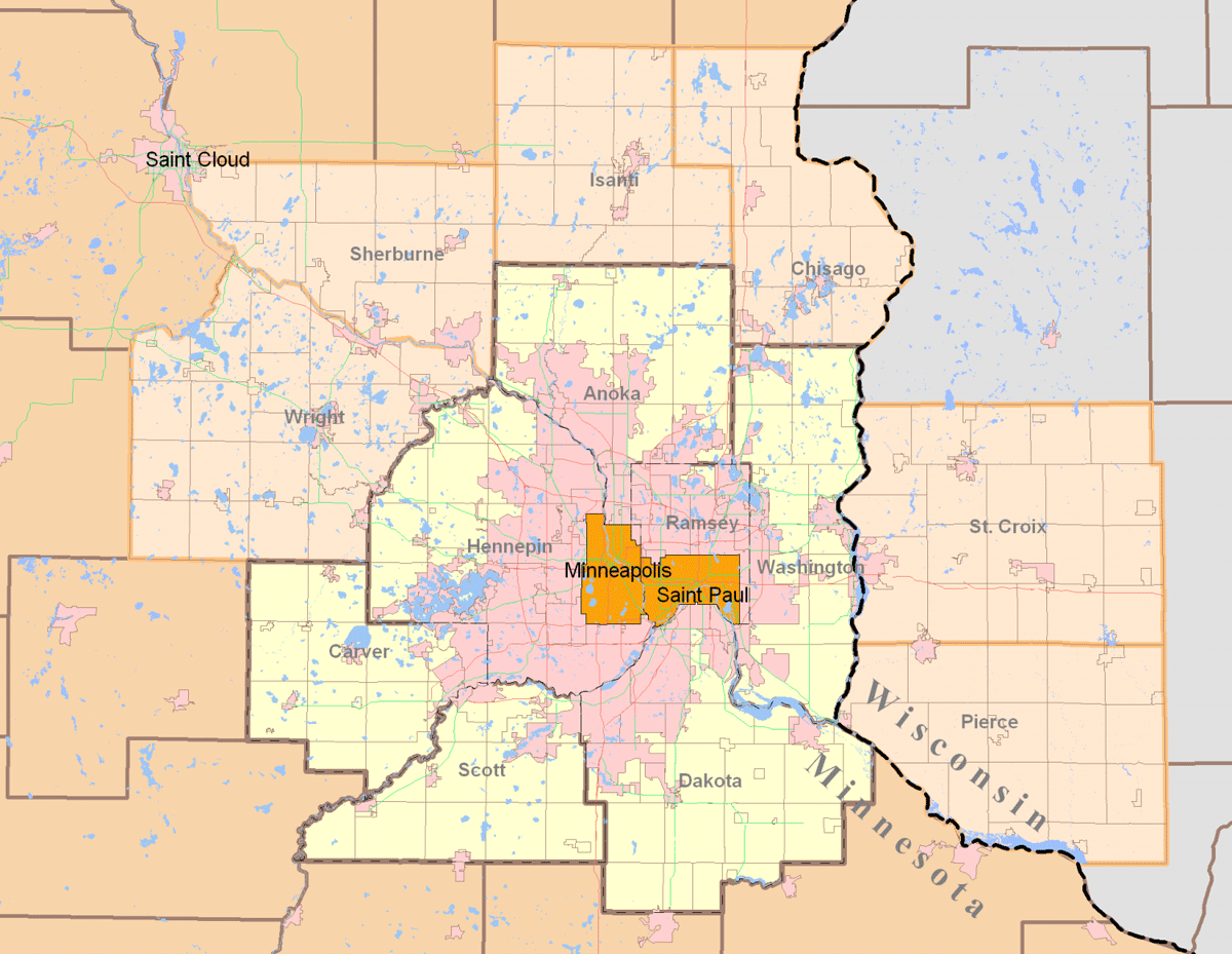 Twin Cities Metro Area (13 County) large map