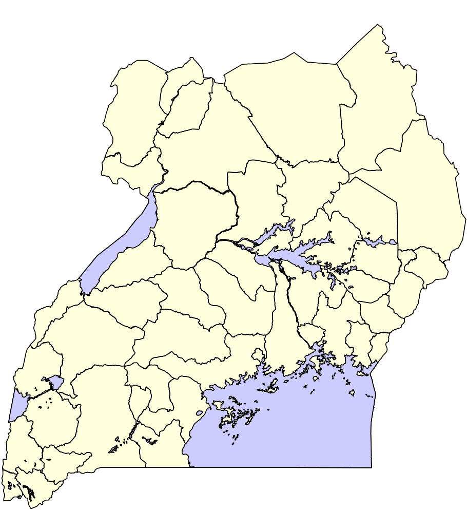 Uganda Distrikte 45 large map