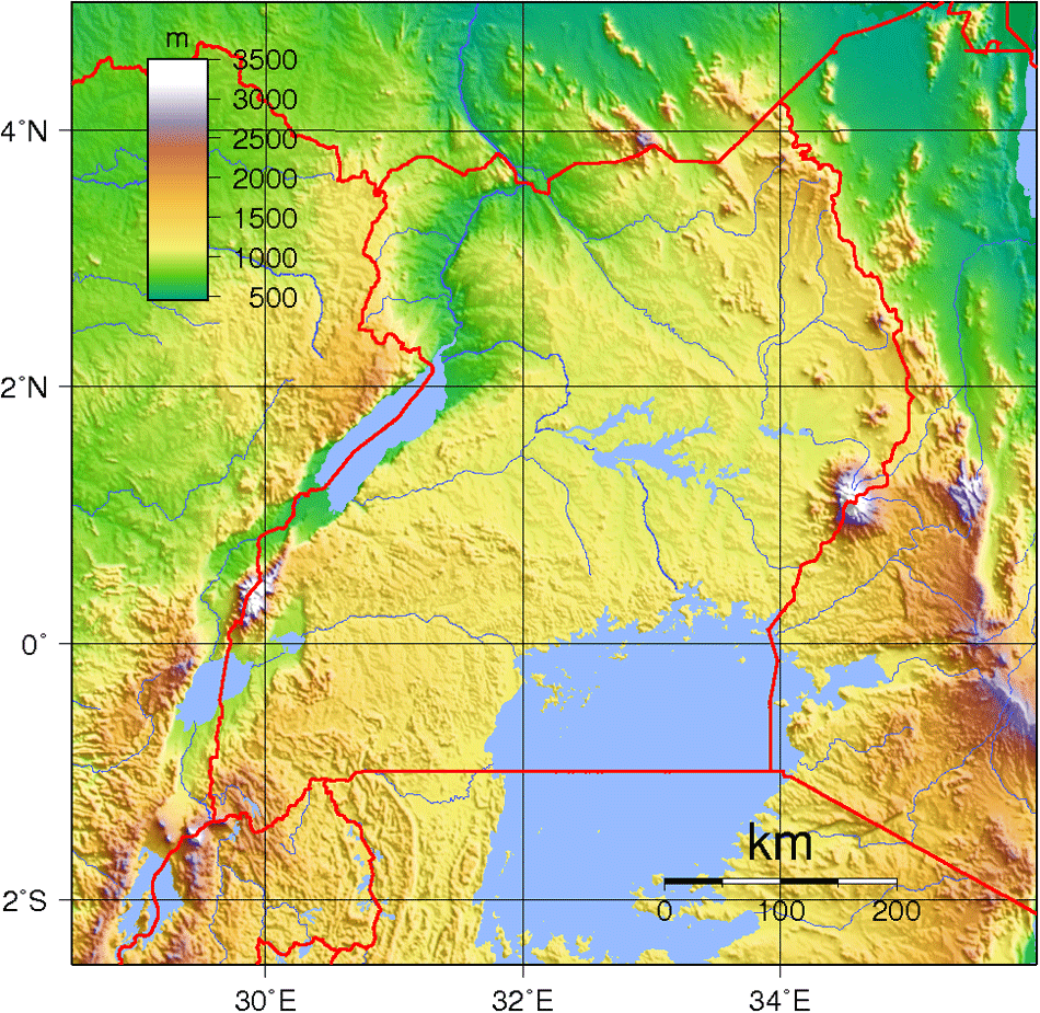 Uganda Topography large map