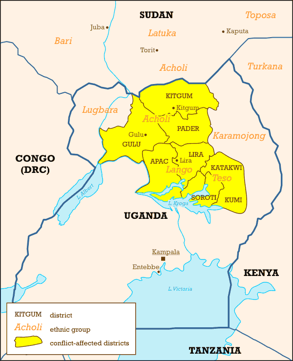 Ugandan Districts Affected By Lords Resistance Army large map