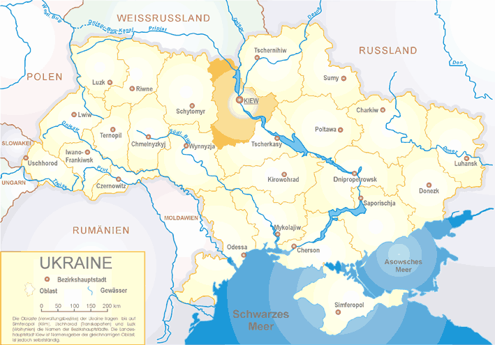 Ukraine Oblast Kiew large map