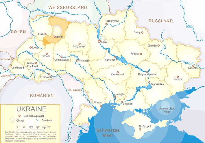 Ukraine Oblast Riwne large map