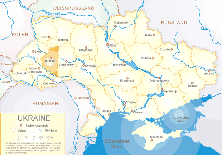 Ukraine Oblast Ternopil large map