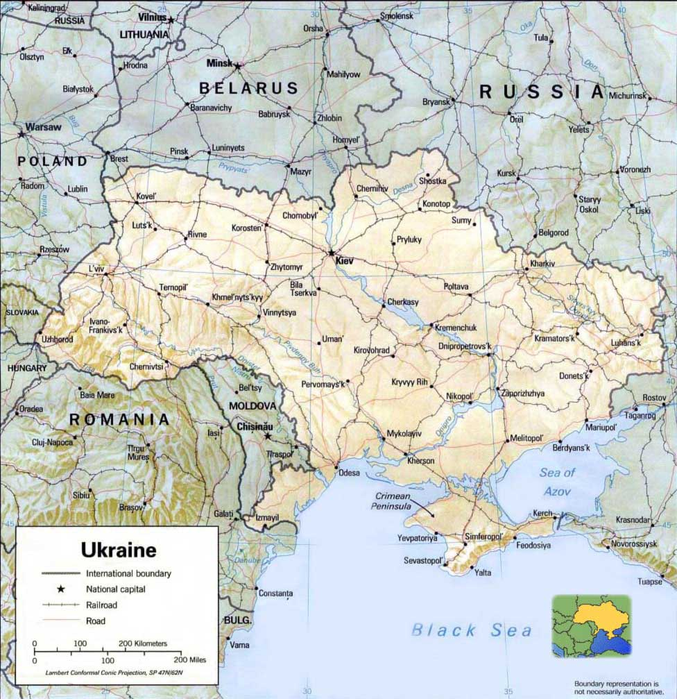 Ukraine Relief Map large map