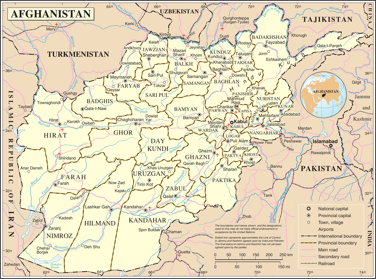 Un Afghanistan large map