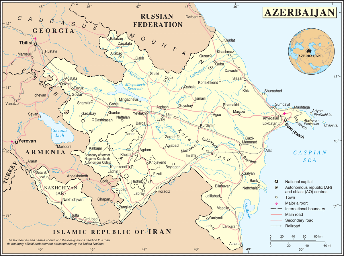 Un Azerbaijan large map