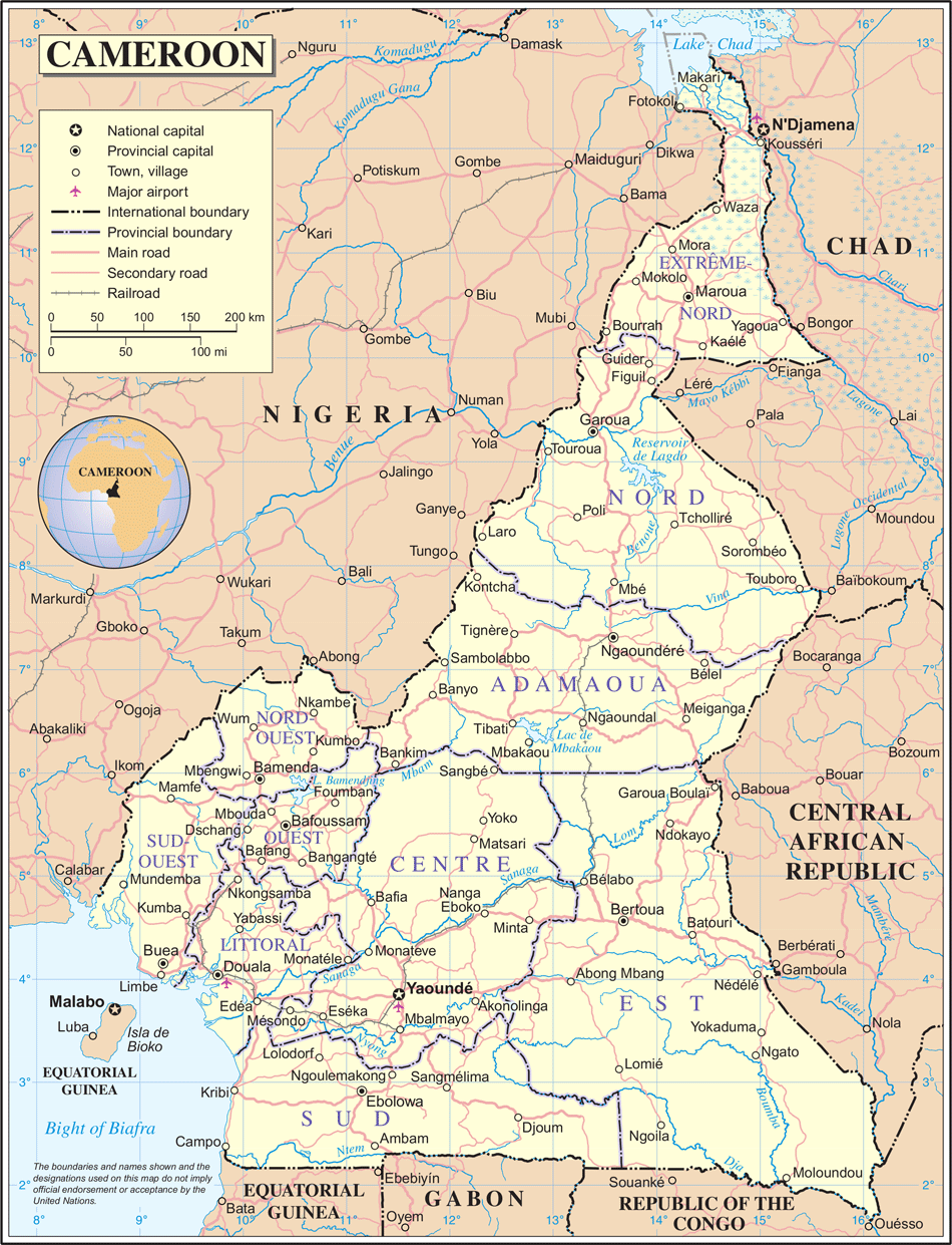 Un Cameroon large map