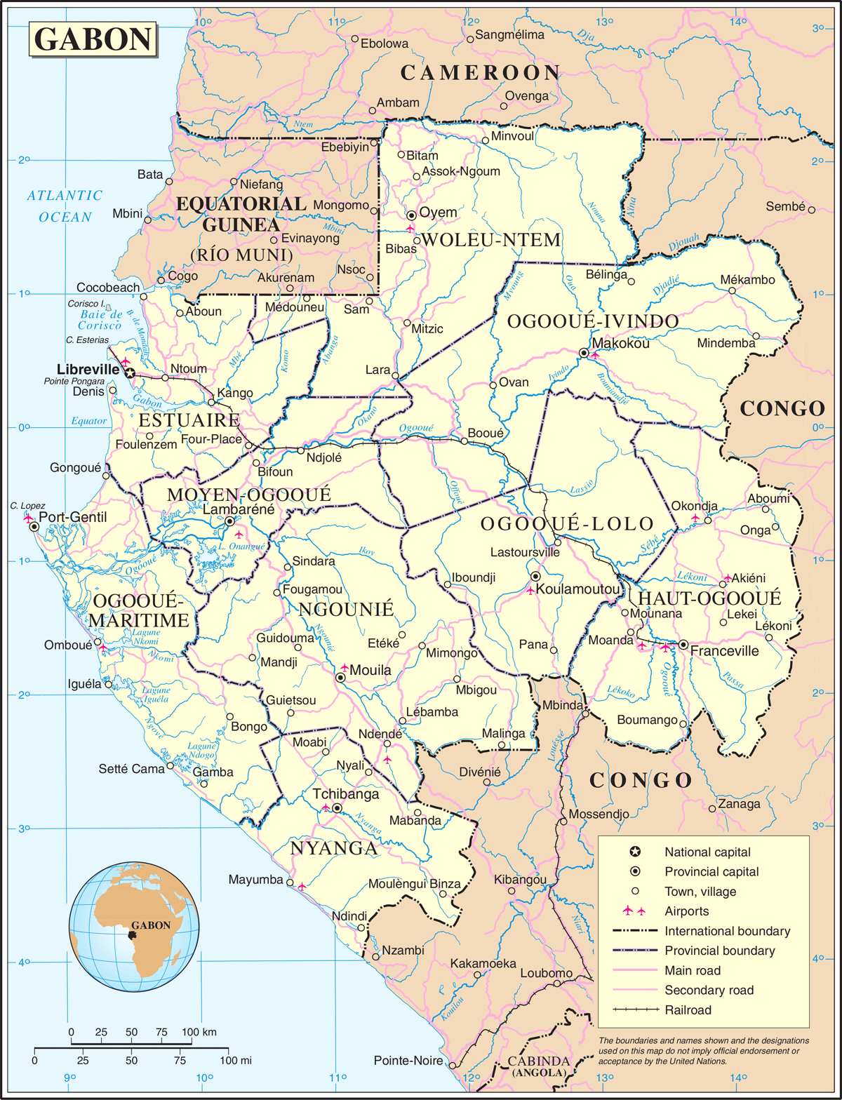 Un Gabon large map