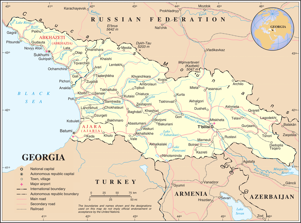 Map Republic Of Georgia.Un Georgia Mapsof Net