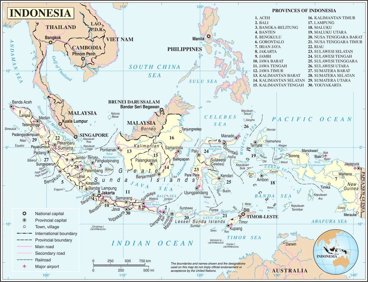 Un Indonesia large map