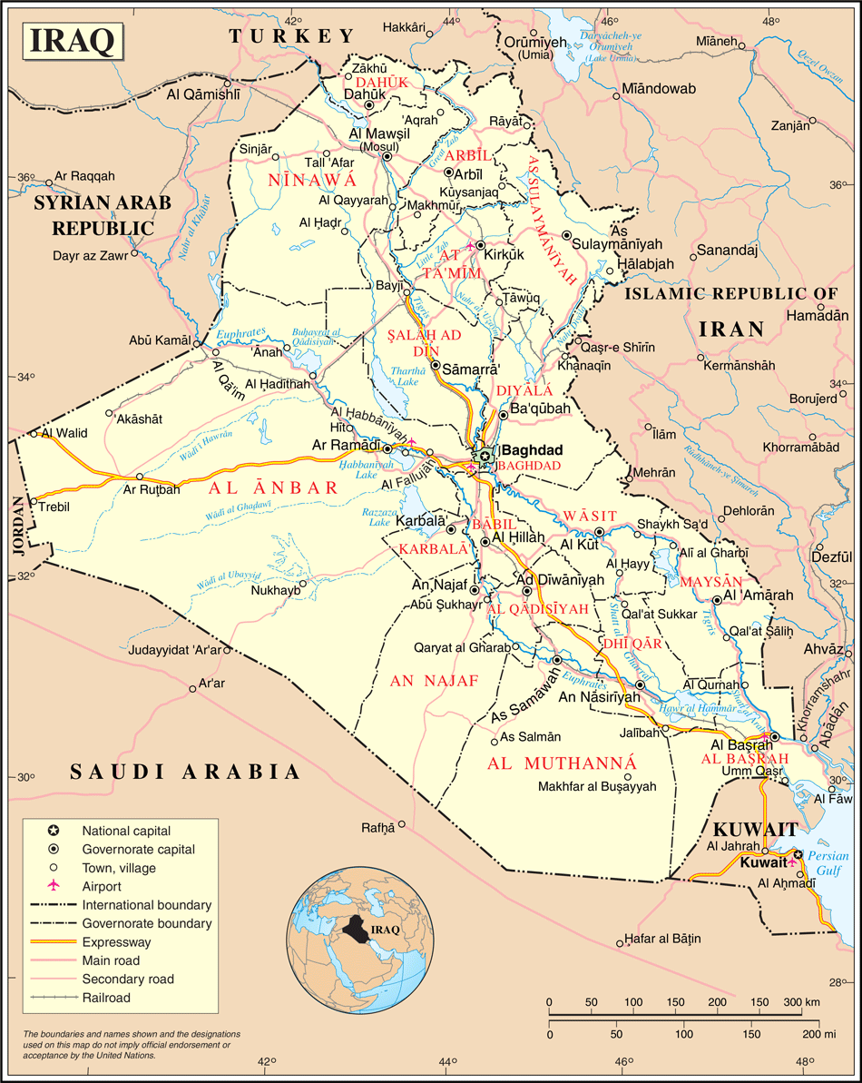 Un Iraq large map