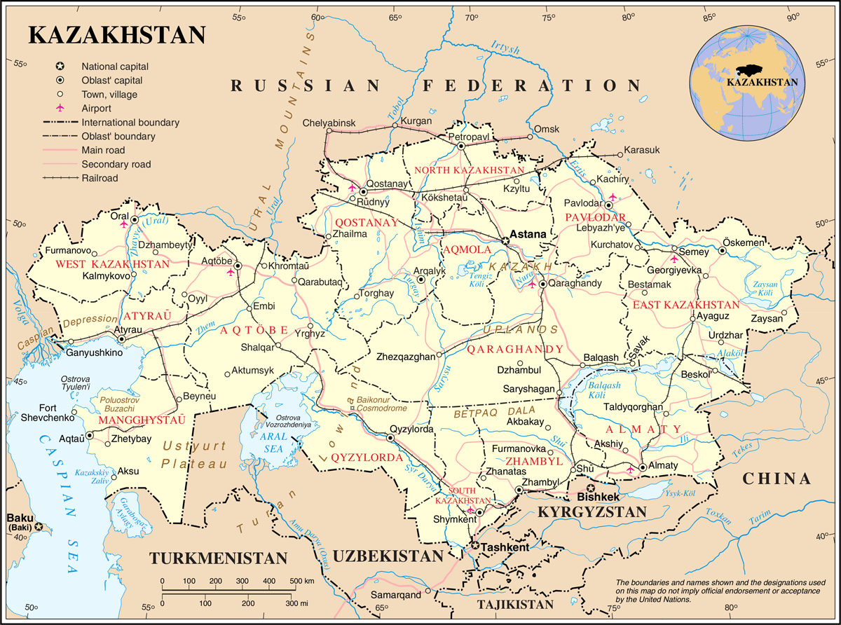 Un Kazakhstan large map