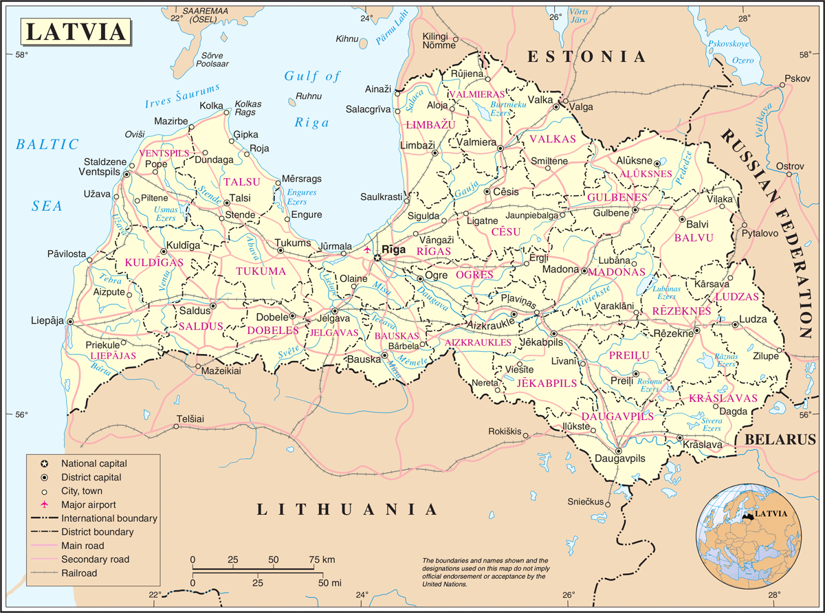 Un Latvia large map