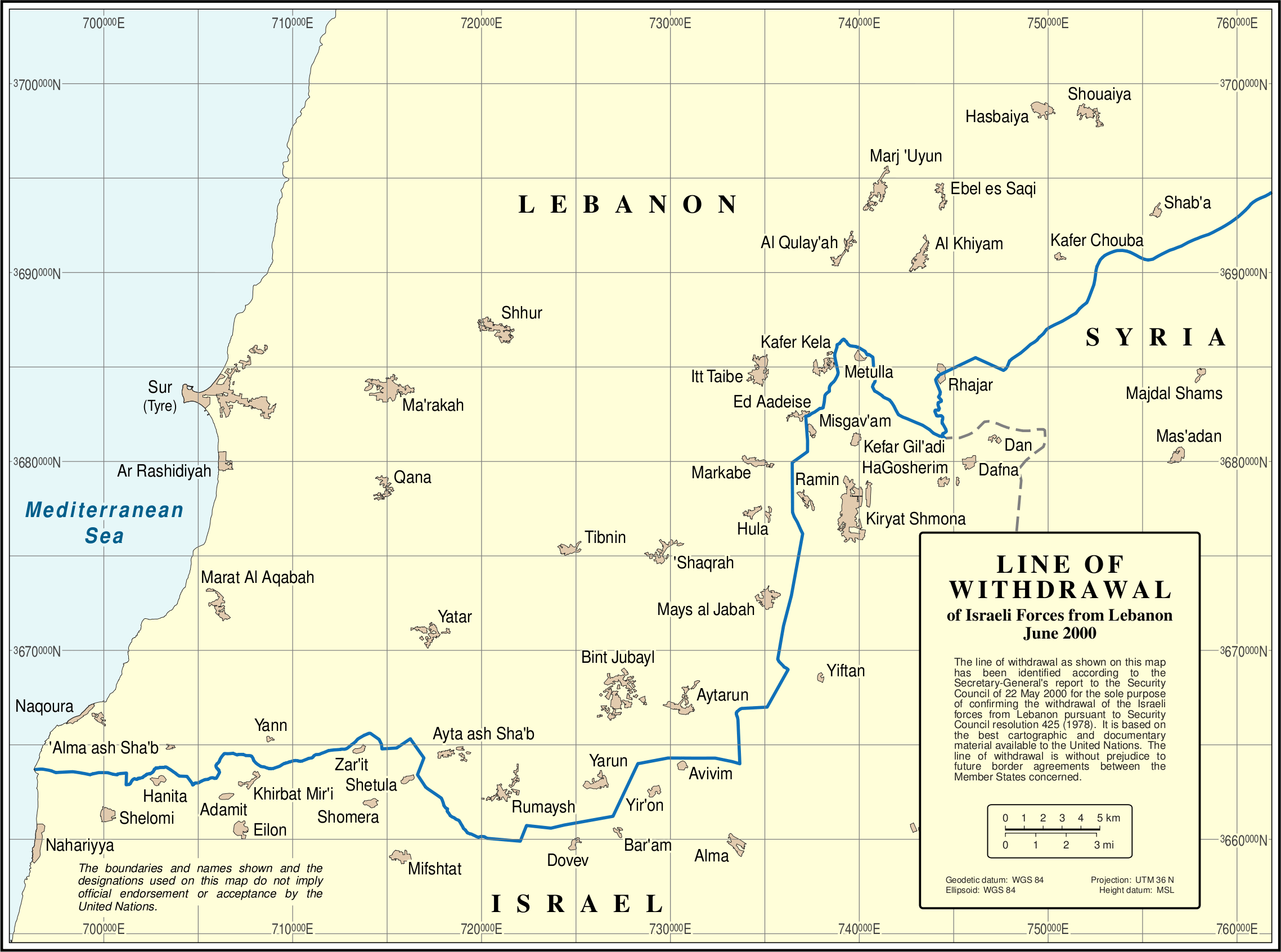 Un Libanon Blueline large map