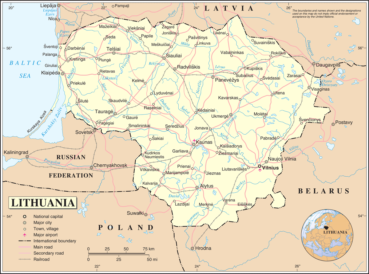 Un Lithuania large map