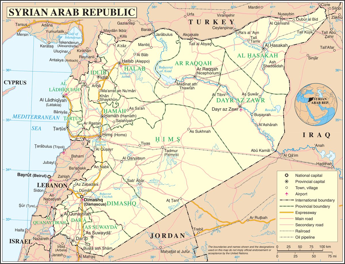 Un Syria large map