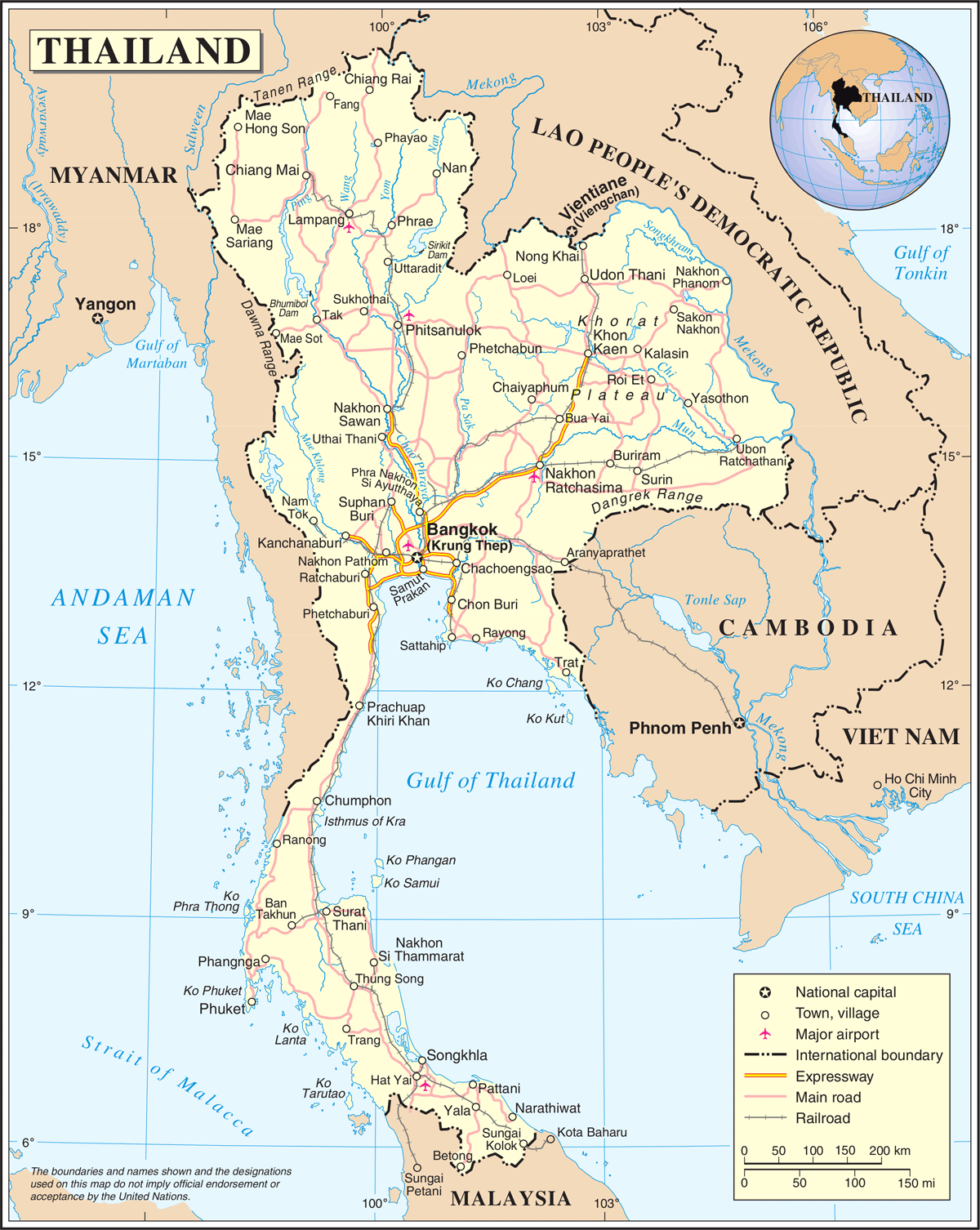 Un Thailand large map