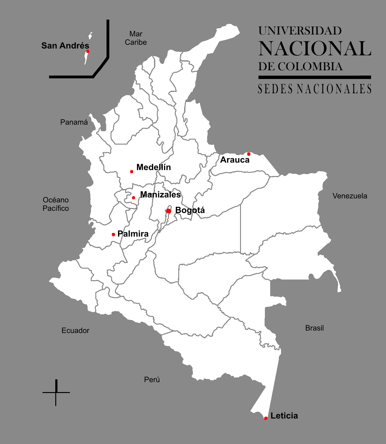 Unal Colombia large map