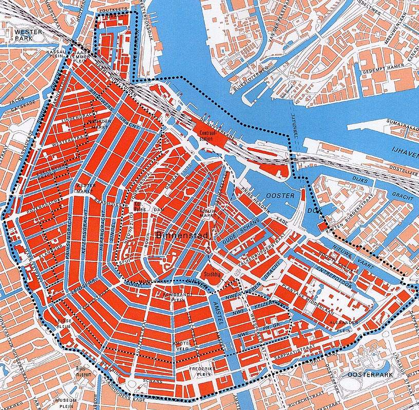 Unesco Kaart Amsterdam large map