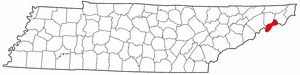 Unicoi County Tennessee large map