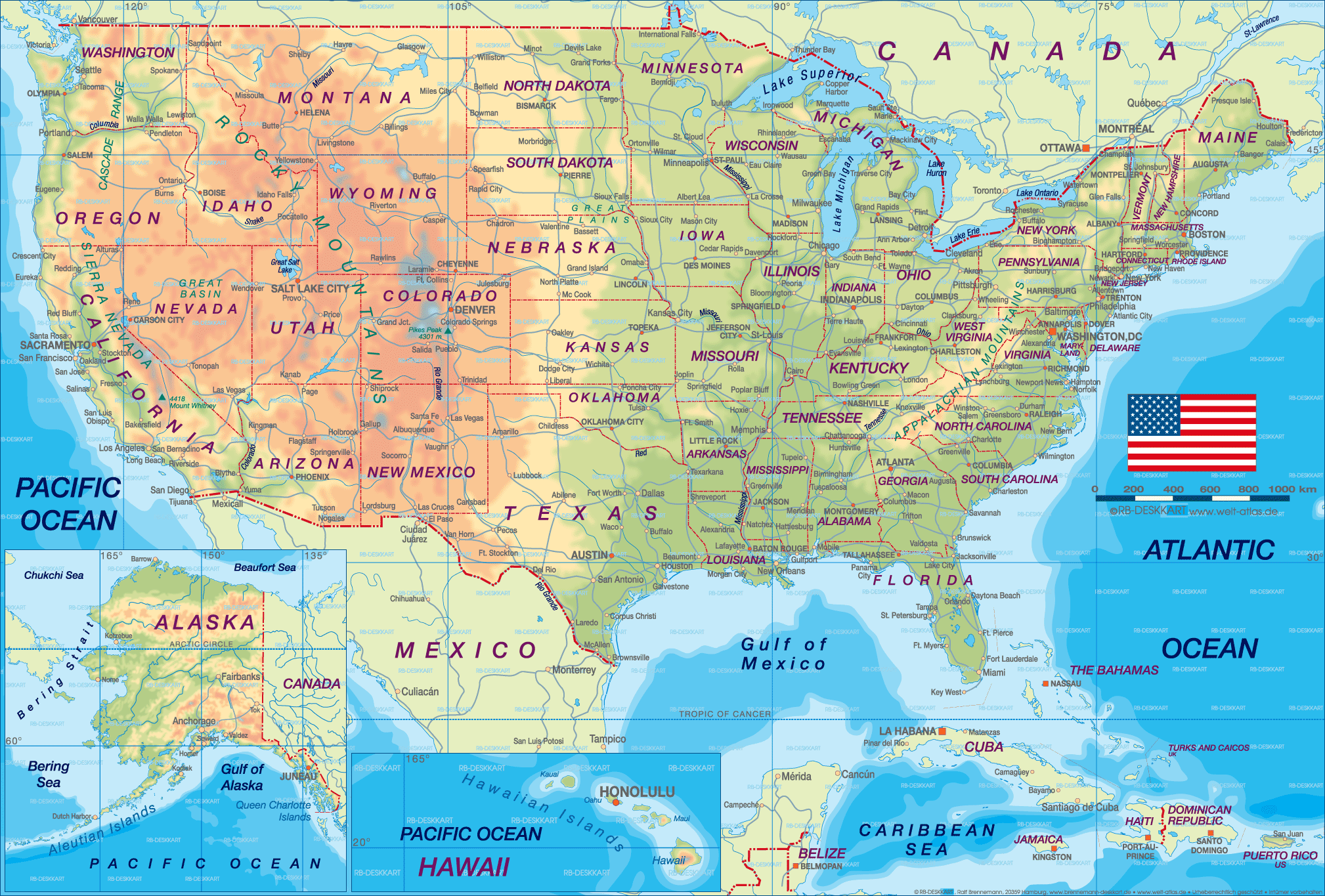 United States Map Nations Online Project Map Of North America US - Map us of america