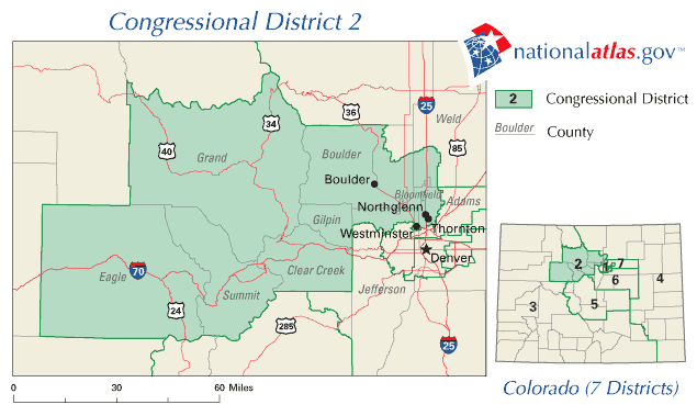 United States House of Representatives, Colorado District 2 Map large map