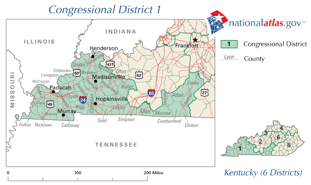 United States House of Representatives, Kentucky District 1 Map large map