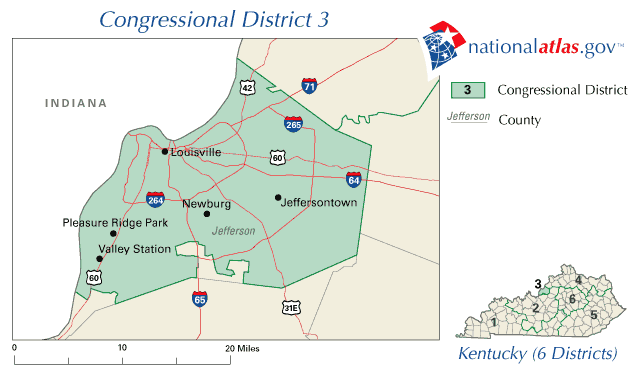 United States House of Representatives, Kentucky District 3 Map large map